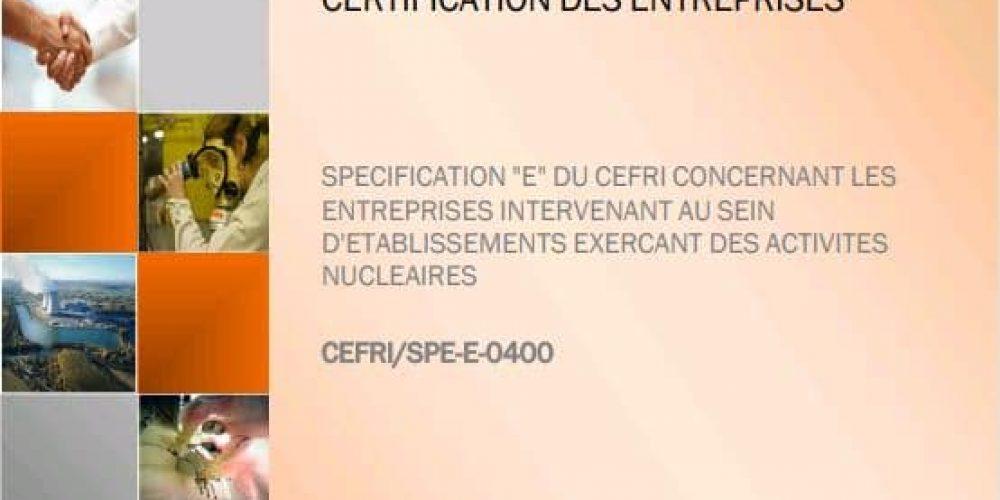 Mise à jour de la spécification E du CEFRI