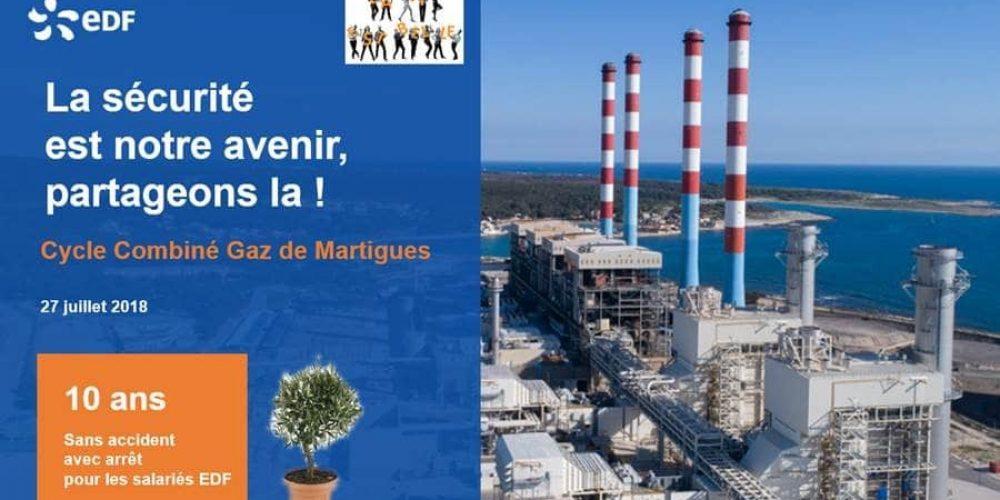 10 ans sans accident avec arrêt pour EDF Martigues